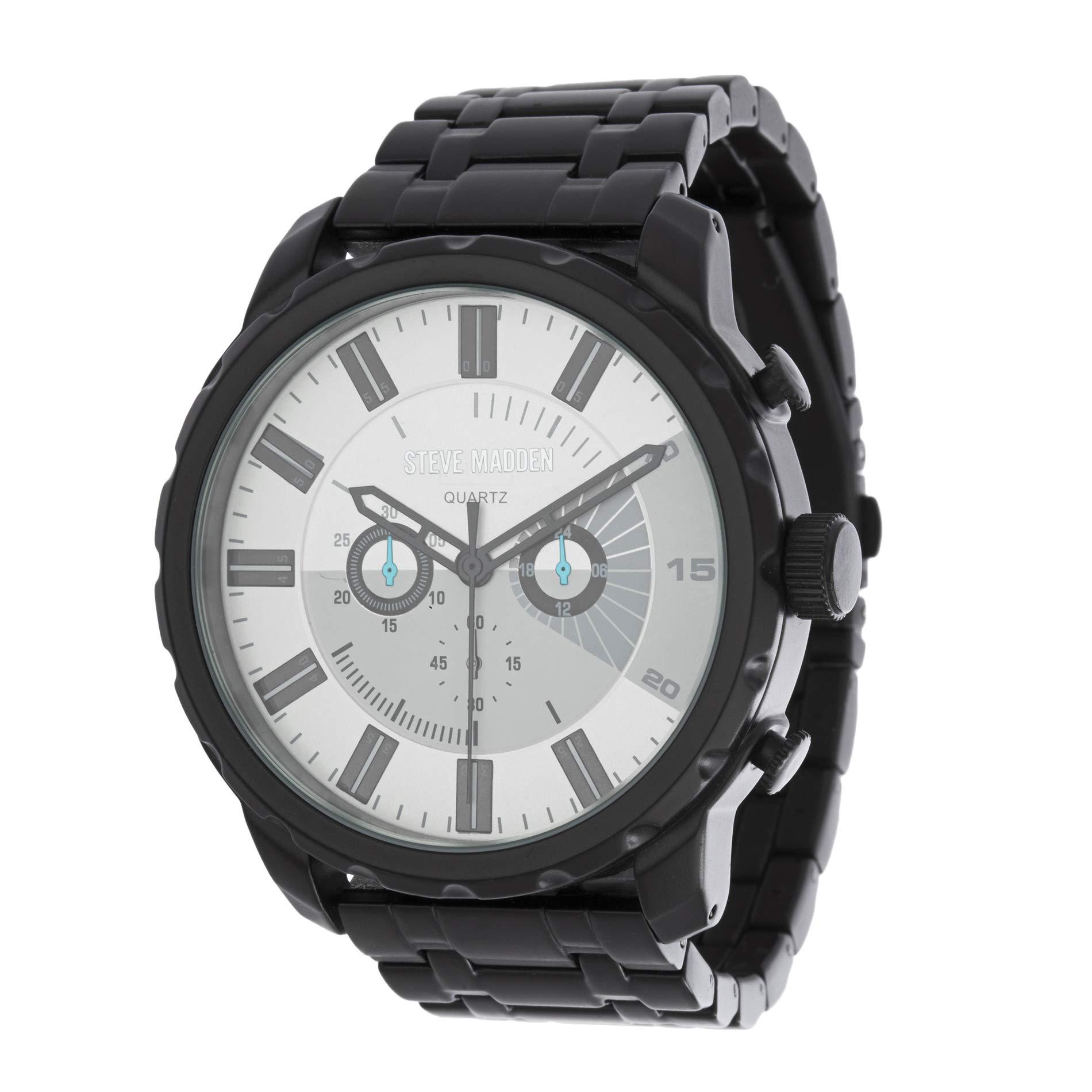 Steve Madden 黑色和银色男式双眼手表