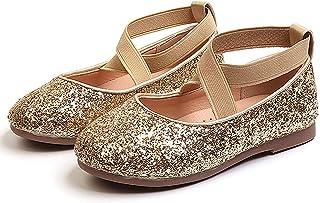 PrettyQueen 幼儿女童闪光礼服鞋一脚蹬芭蕾玛丽珍平底鞋适用于公主婚礼派对学校