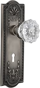 Nostalgic Warehouse 711127 Meadows Plate with Keyhole Passage Crystal Glass Door Knob In Antique Pewter,