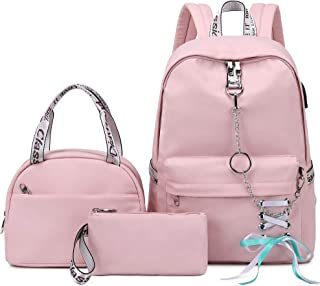 Hey Yoo 学校背包 女孩 女士 儿童 儿童 背包 书包 套装 带午餐袋 适合青少年女孩 粉红色 中