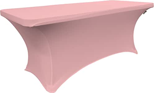 LA Linen Spandex Table Cloth for a 6-Feet Rectangular Table, 72 by 30 by 30-Inch, Light Pink