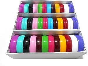 塑料手镯/Kada 手镯/厚 Kada 组合非常流行多色套装 3 盒 - 5 毫米、10 毫米、20 毫米 - 所有尺寸从儿童到成人均有售 多色 2.10
