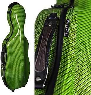 Tonareli Cello-shaped 玻璃小提琴盒带轮子 - 特别版绿色方格 VAF1020