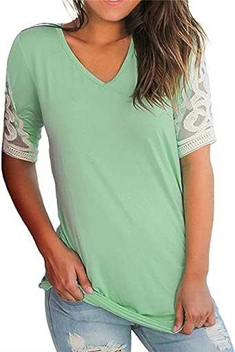 miselon 女式 V 领针织凯米丝短袖褶皱上衣衬衫女衬衫 绿色 XX-Large