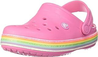 Crocs 卡駱馳兒童 Crocband 彩虹閃光洞鞋   一腳蹬女童涼鞋   水鞋