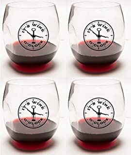 It's Wine O'Clock Unbreakable Stemless *杯 4 件装理想*类配饰和礼物
