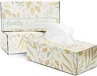 树叶和叶子图案纸盒中的面部棉纸巾(3 包,共 240 张纸巾)