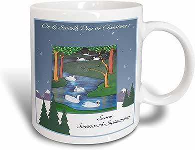 3Drose Seven Swans a Swimming, Snow, Tree, Religious, 12 Days of Christmas, Ceramic Mug, 11-Oz