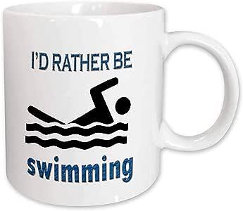 RinaPiro - Funny Quotes - Id rather be swimming. Popular saying. - Mugs 白色 11-oz
