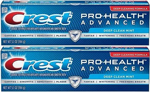Crest Pro-Health 高级牙膏,超深清洁,5.1 盎司(2 瓶装)