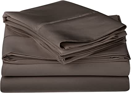 Impressions 1200 Thread Count Premium Egyptian Cotton, Single Ply, King Bed Sheet Set, Solid, Charcoal