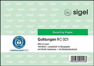 Sigel RC021 收据簿 A6 横向,由回收纸制成,100张 1 Stück, 100 Blatt, aus Recyclingpapier 1 Stück