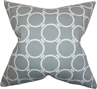 枕头系列贝司几何灰色羽毛填充 18 英寸抱枕 灰色 18 x 18 P18-PP-LINKED-COOLGREY-C100