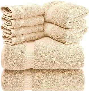 白色经典豪华 8 件浴巾套装 - 700 GSM 厚精梳棉酒店品质高吸水毛巾 米色