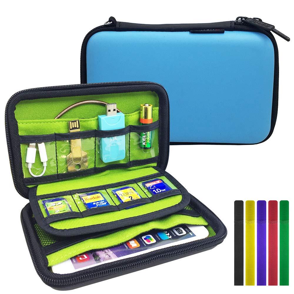 2建電子保護カバー部品、FineGood旅行ケーブルレセプタクルデジタルガジェットUSBフラッシュドライブ外付けハードディスクカートリッジモバイル電力貯蔵袋添付ハーネス5
