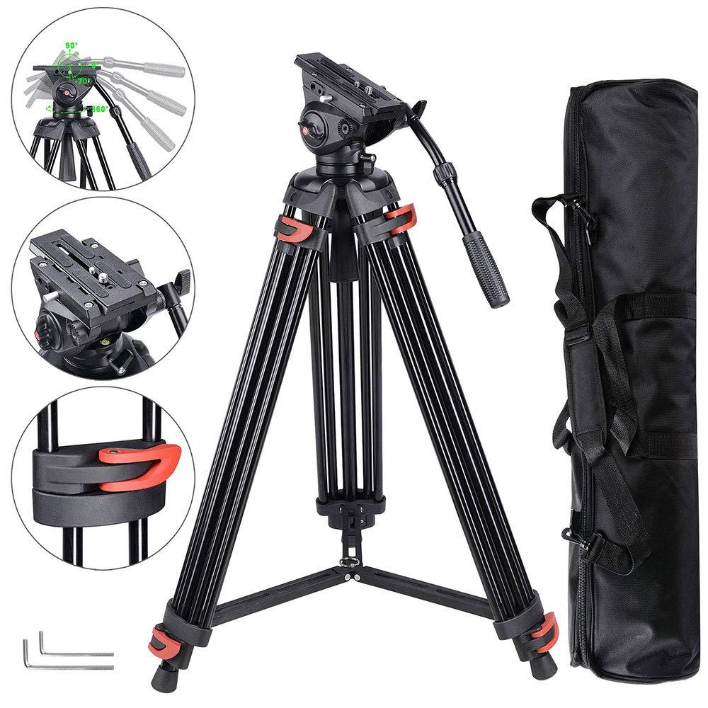 AW 71 Yingcunプロカメラは、22ポンド容量の運搬袋を備えたポータブルDVビデオスタビライザーブラケット液体ダンピングヘッドキットを三脚