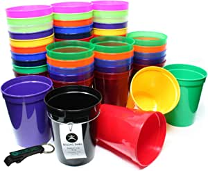 Rolling Sands 453.59 克可重复使用的塑料体育场杯(50 只装,美国制造,不含双酚 A)洗碗机*塑料杯和开瓶器 多种颜色