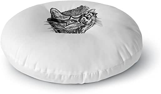 """KESS InHouse BarmalisiRTB """"趣味猫""""黑白插图圆形地板枕,58.42 cm x 58.42 cm 多种颜色 26"""" x 26"""" RT1128ARF02"""