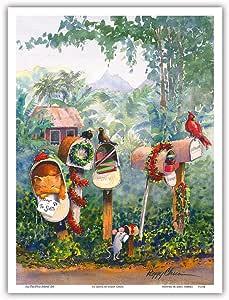 Pacifica Island Art To Santa - 夏威夷圣诞节 (Mele Kalikimaka) 信箱中的信件 - Peggy Chun 原创夏威夷水彩画 - 主艺术印刷品 9 x 12 in PRTAPC104