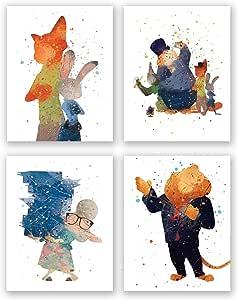 PGbureau 动物园地艺术装饰海报 - 4 件套水彩印花 - 派对用品 - Nick Judy Skoth Flash 儿童生日 8x10