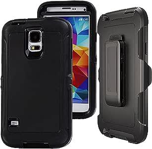 Galaxy S5 手机壳,S5 皮套,Auker 重型保护壳 3 合 1 防震混合坚固橡胶内置屏幕保护膜手机壳带旋转支架和带旋转夹,适用于三星 Galaxy S54326766476 黑色