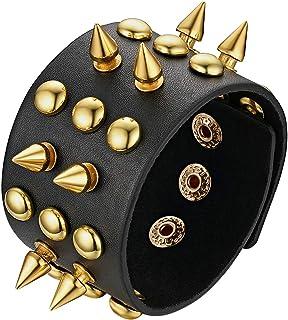 JewelryWe 宽皮革袖口手镯酷朋克铆钉皮革手链带按扣封口