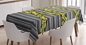 Police Decor Tablecloth by Ambesonne, Crime Scene Investigation Do Not Pass Yellow Wraps Quotes Artwork Print, Dining Room Kitchen Rectangular Table Cover, 60 W X 84 L Inches, Yellow Grey Black