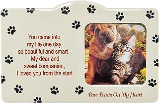 """Home-X 宠物纪念相框 - 我的心形同伴爪印 - 怀旧相框,失去狗或猫的同情,标准 4x6"""" 照片"""