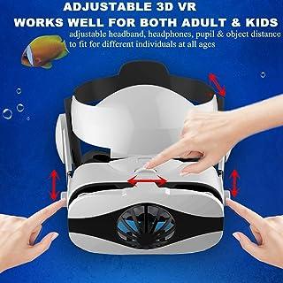 虚拟现实耳机 VR 眼镜,VR 护目镜观看者带耳机,适用于 iPhone 11 Pro XS Max XR X 8 + Samsung Galaxy S10 S9 S8 S7 Edge+ Note 10 9 8 A50 适用于 iOS Android 手机/游戏,白色