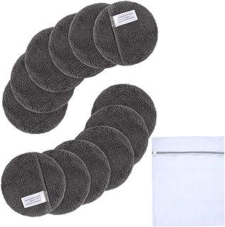 Sunland 可重复使用卸妆垫,适用于面部、*、唇部,超细纤维洁面手套,可水洗卸妆布,带洗衣袋圆形垫(圆形 4 英寸x12 包,深灰色)