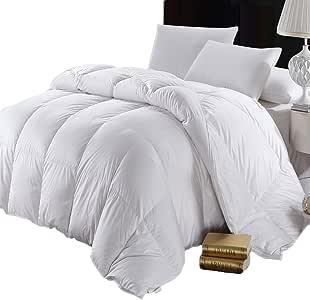 Abripedic 纯色 600 针,* 纯棉面料,超保暖,重量级鹅绒被子 白色 Full/Queen