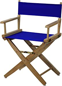 Casual Home Extra-Wide Premium American Oak Directors Chair with Natural Frame and Royal Blue Cover, 18-Inch