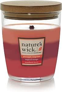 Nature's Wick Woodwick Aura,蜡烛 Pineapple Tangerine/Tropical Mango/Mandarin Berry 10 oz. 93761