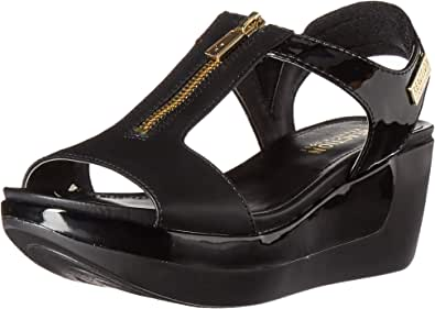Kenneth Cole REACTION 女士 Pepea T 字形防水台凉鞋 黑色 11