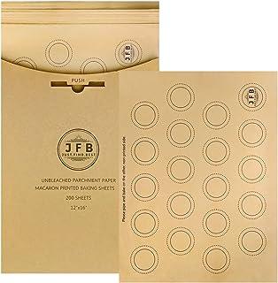 Just.Find.Best 羊皮纸烘焙纸 - 预裁未漂白羊皮纸,马龙烘焙纸 30.48 x 40.64 厘米不粘,赠送 20 张圆形饼干纸,印刷的Macarons 形状 12x16 Inches JFB-0002