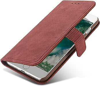 Xelcoy 皮革钱包翻盖手机壳,带可调节视角支架和磁扣现金插槽卡套,适用于 iPhone 7Plus 8PlusFlipLeather78PlusRed 红色