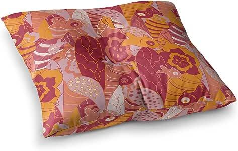 """KESS InHouse Akwaflorell""""Fishes Here, Fishes There III"""" 粉色橙色方形地板枕 多种颜色 26"""" x 26"""" EM1035CSF02"""
