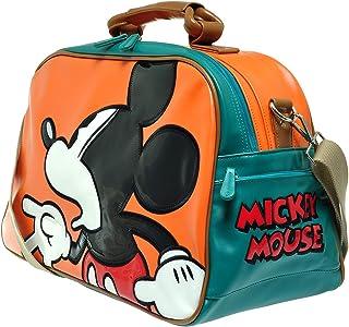 I130.Disney 米奇老鼠男士女士旅行周末行李袋过夜健身包 02_Orange L 19.7*H 12.0*W 9.6 inch