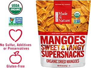 Made in Nature Organic Dried Mangoes, 8 oz - Non-GMO Vegan Dried Fruit Snack