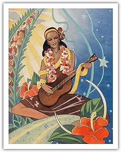 "Pacifica 岛艺术夏威夷音乐家 - Curt Teich & Co. - Ted Mundorff 出品的复古夏威夷圣诞卡 c.1943 - 精美艺术印刷品 11"" x 14"" APB1493"