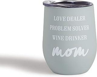 Mona B Super Mom 12 盎司不锈钢酒杯带盖子 MG-306