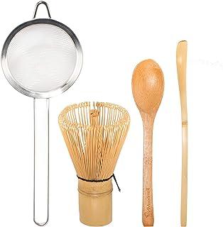 BambooMN 日本茶具套装,Matcha Whisk (Chasen),茶过滤器,传统勺子(Chashaku),茶匙,准备传统茶杯的完美套装 Golden Tea Whisk + Chasaku + Strainer + Teaspoon 6955114961171a