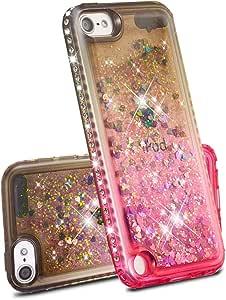 BESKAY 适用于 iPod Touch 6/Touch 5 保护套,[彩色沙系列] 奢华液体浮动闪闪闪发光钻石闪光柔软 TPU 保护套兼容 iPod Touch 6/Touch 5 灰色/粉色