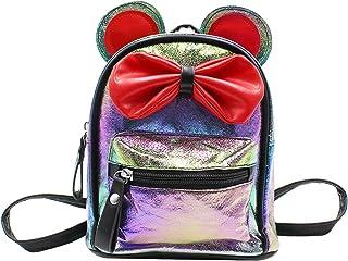 mosstyus 可爱旅行背包全息卡通耳朵鼠标蝴蝶结包学校迷你背包适合男孩女孩女士 黑色 均码