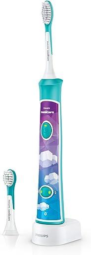 Philips 飞利浦 Sonicare HX6322 / 04 儿童 Connected 电动牙刷,带声波技术,蓝色