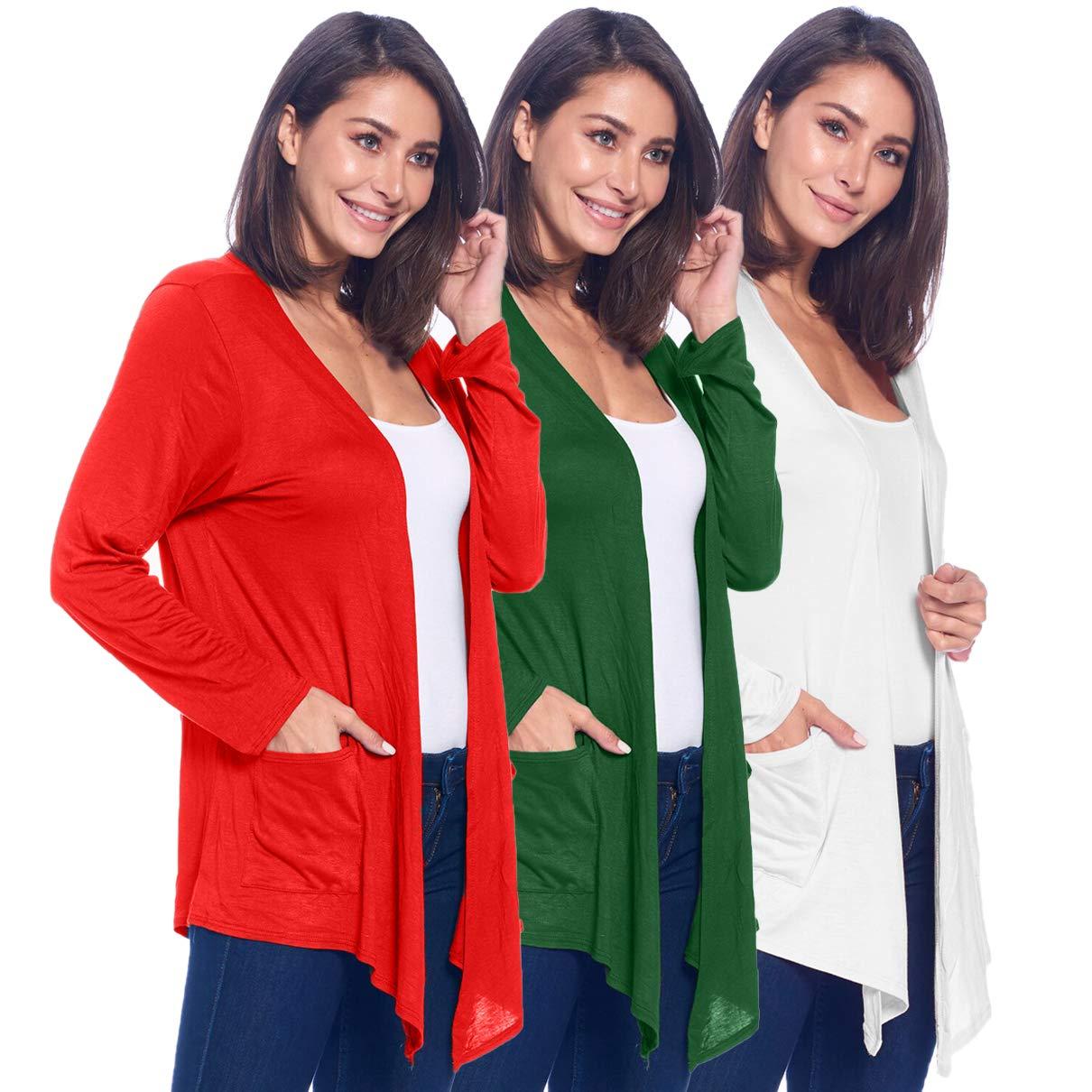 Isaac Liev 女士经典开襟羊毛衫(3 件装),带口袋