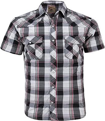 Coevals Club 男士按扣系扣格子短袖工作休闲衬衫 Black & Red #18 Small