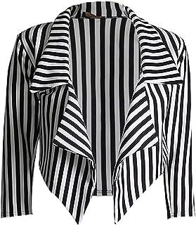 GirlzWalk 女士 3/4 袖条纹印花前开式瀑布露脐运动夹克