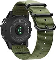 Fintie 腕带 适用于 Garmin Fenix 6X / Fenix 5X Plus/Tactix Charlie 手表,26mm 高级编织尼龙可调节替换表带 适用于 Fenix 6X 5X Plus/3/3 HR/Garmin Tactix