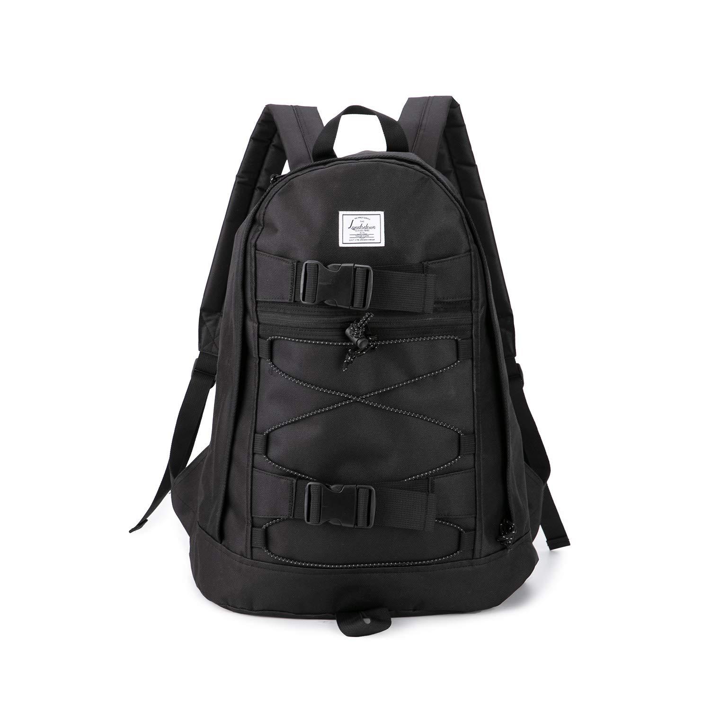 Landsdown 男式大号黑色旅行背包笔记本电脑帆布背包 中性时尚帆布背包 黑色1